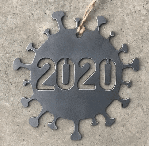 2020 Covid Metal Christmas Ornament